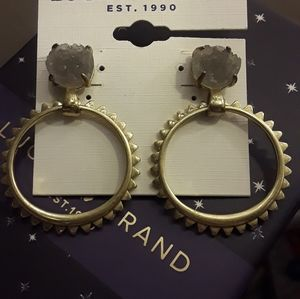 Lucky Brand Druzy Dangle Earrings Gold and Gray